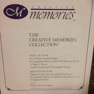 "NEW Creative Memories 8"" x 10"" White Ruled Filler"